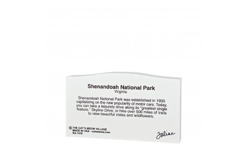 Back description of Shenandoah National Park Sign, Virginia.  Handcrafted in the USA by Cat's Meow Village.