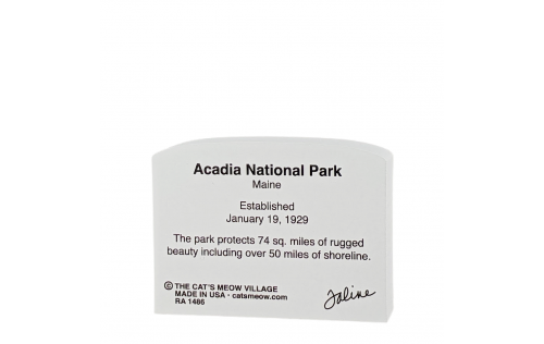 """Back Description of Acadia National Park Sign, Maine. Handcrafted in the USA 3/4"""" thick wood by Cat's Meow Village"""