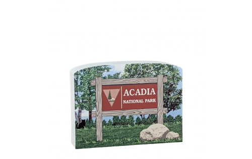 """Acadia National Park Sign, Maine. Handcrafted in the USA 3/4"""" thick wood by Cat's Meow Village"""