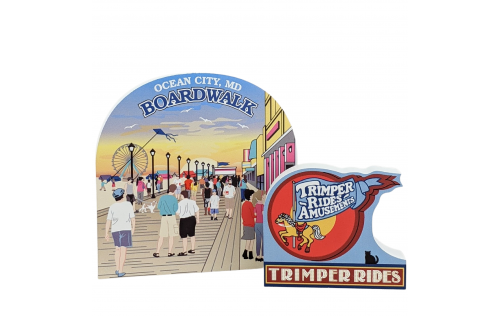 """Trimpers Rides sign and Ocean City Boardwalk scene, Ocean City, Maryland.  Handcrafted in the USA 3/4"""" thick wood by Cat's Meow Village."""
