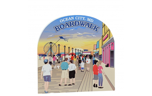 "Boardwalk Scene, Ocean City, Maryland. Handcrafted in the USA 3/4"" thick wood by Cat's Meow Village."