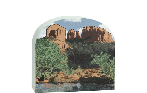 Add this scene of Cathedral Rocks in Arizona to your home decor to remind you of your memorable visit. Handcrafted in the USA by The Cat's Meow Village.