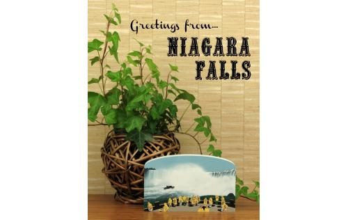 Handcrafted wooden keepsake of Niagara Falls table rock area created by The Cat's Meow Village