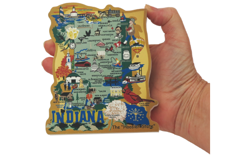 Show your state pride with a state map of Indiana handcrafted in wood by The Cat's Meow Village