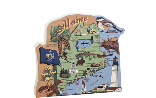 Show your state pride with a state map of Maine handcrafted in wood by The Cat's Meow Village