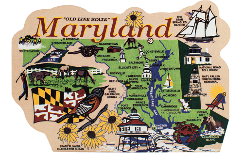 Display your state pride with a state map of Maryland handcrafted in wood by The Cat's Meow Village