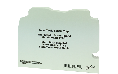 Back side of the state map of New York handcrafted in wood by The Cat's Meow Village