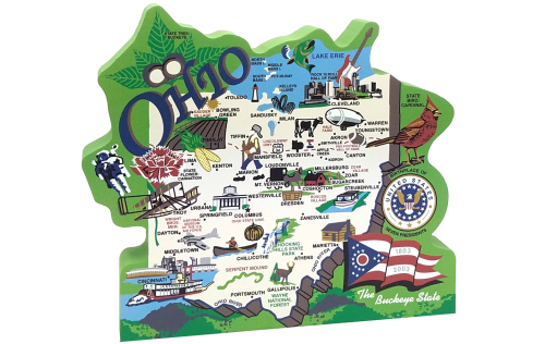 Cat's Meow handcrafted wooden map of the state of Ohio featuring the Ohio flag, cardinal, buckeye tree and other significant Ohio icons.
