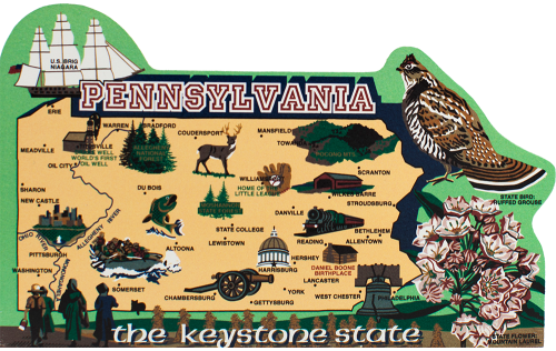 Show your state pride with a state map of Pennyslvania handcrafted in wood by The Cat's Meow Village