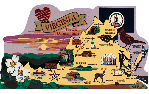 Add this wooden state map of Virginia to your home decor, handcrafted in the USA by The Cat's Meow Village