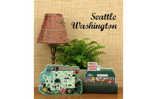 Show your state pride with a handcrafted in the US wooden keepsake of a Washington State Map or Pike Place Market