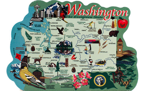 Handcrafted wooden map of Washington State with significant points of interest created by The Cat's Meow Village