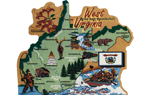 Show your state pride with a state map of West Virginia handcrafted in wood by The Cat's Meow Village