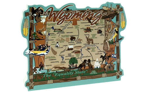 """Add this 3/4"""" thick wooden state map of Wyoming to your home decor, handcrafted in the USA by The Cat's Meow Village"""