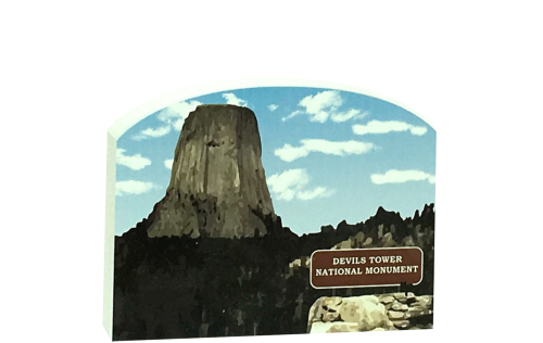 """Add this wooden replica of Devils Tower in Wyoming to your home decor to celebrate the day you laid your eyes on this national monument. Handcrafted in the USA by The Cat's Meow Village of 3/4"""" thick wood."""