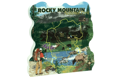 "Keep memories alive of your trip to the park with our 3/4"" thick wooden ""map"" of the Rocky Mountain National Park. Handcrafted in the USA by The Cat's Meow Village."