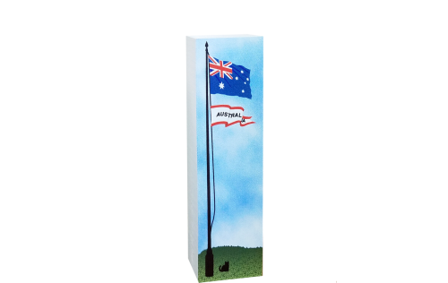 "Australia flag handcrafted of 3/4"" thick wood that you can tuck into a bookshelf to remind you of that unforgettable trip. Made in the USA by The Cat's Meow Village."