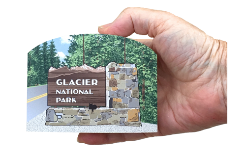 """Get your paws on this Glacier National Park sign if you've been there, or just dream of going there one day! Handcrafted of 3/4"""" thick wood by The Cat's Meow Village. Made in the USA."""