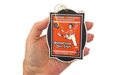 Handcrafted wooden ornament of OSU football 1916 Season Northwestern Program cover by The Cat's Meow Village.