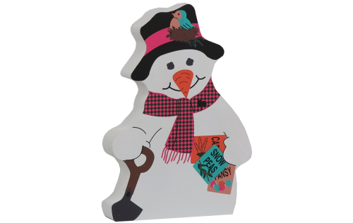 Cat's Meow Village handcrafted wooden shelf sitter of a Spring Planting Snowman. Crafted from wood in the USA.