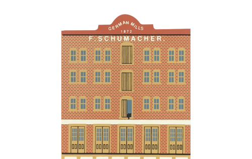 "Vintage Schumacher Mill from Market Street Series handcrafted from 3/4"" thick wood by The Cat's Meow Village in the USA"