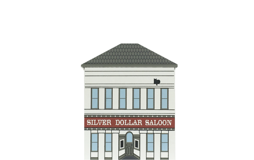 "Vintage Silver Dollar Saloon from California Gold Rush Series handcrafted from 3/4"" thick wood by The Cat's Meow Village in the USA"