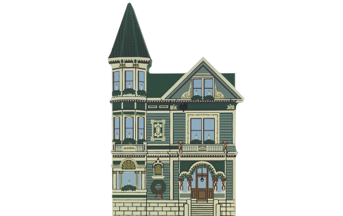"""Vintage Spencer House Bed & Breakfast from San Francisco Christmas Series handcrafted from 3/4"""" thick wood by The Cat's Meow Village in the USA"""