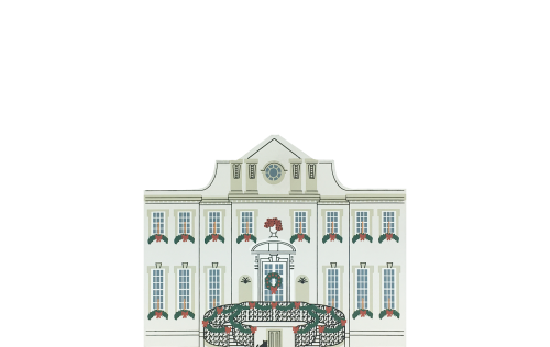 "Vintage Swan House from Atlanta Christmas Series handcrafted from 3/4"" thick wood by The Cat's Meow Village in the USA"