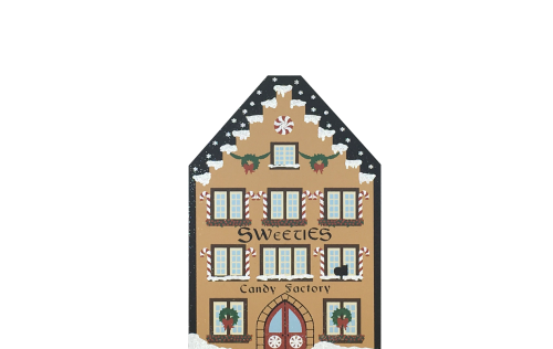 """Sweeties Candy Factory from Vintage North Pole handcrafted from 3/4"""" thick wood by The Cat's Meow Village in the USA"""