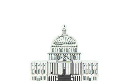 "Vintage United States Capital from Washington D.C. Series handcrafted from 3/4"" thick wood by The Cat's Meow Village in the USA"