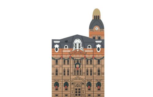 """Vintage Wayne County Court House from Hometown Christmas Series handcrafted from 3/4"""" thick wood by The Cat's Meow Village in the USA"""