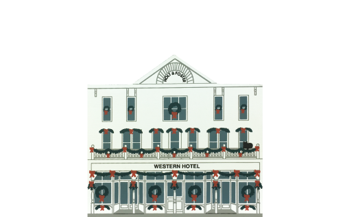"""Vintage Western Hotel from Rocky Mountain Christmas Series handcrafted from 3/4"""" thick wood by The Cat's Meow Village in the USA"""