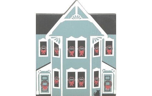 "Vintage Bellevue House from Western Reserve Christmas Series handcrafted from 3/4"" thick wood by The Cat's Meow Village in the USA"