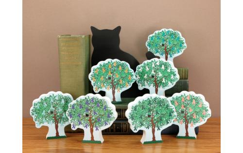 Display of Cat's Meow Village 2015 Cancer Awareness Charity Trees