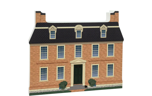 """Replica of the Derby House part of the Salem Maritime National Historic Site. Handcrafted of 3/4"""" thick wood with colorful details on the front and history on the back. Made by Cat's Meow Village in Wooster, Ohio."""