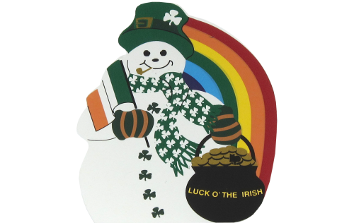 Luck O' The Irish Snowman, Pot of Gold, Flag of Ireland, Shamrocks