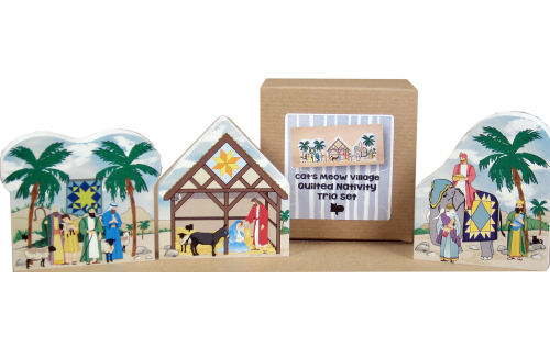 Handcrafted wooden shelf sitter of a Quilted Nativity Trio Set created by The Cat's Meow Village