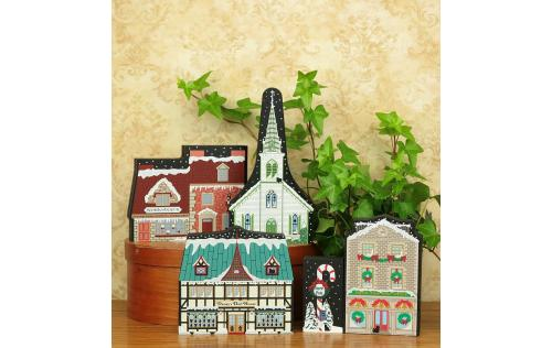 "Workshop B from Vintage North Pole handcrafted from 3/4"" thick wood by The Cat's Meow Village in the USA"