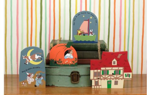 "Vintage Crooked House from Nursery Rhyme Series handcrafted from 3/4"" thick wood by The Cat's Meow Village in the USA"