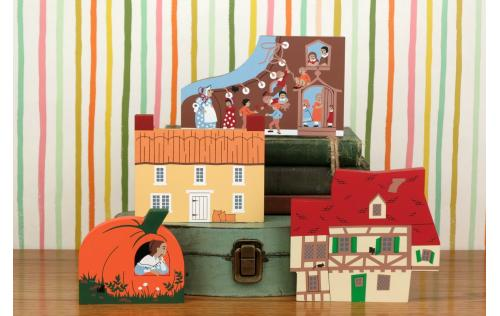 "Vintage The House That Jack Built from Nursery Rhyme Series handcrafted from 3/4"" thick wood by The Cat's Meow Village in the USA"