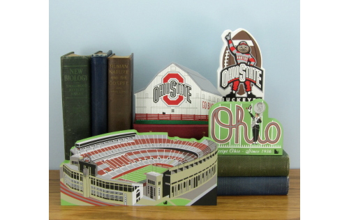 Grouping of wooden OSU keepsakes handcrafted by The Cat's Meow Village in Wooster, Ohio.