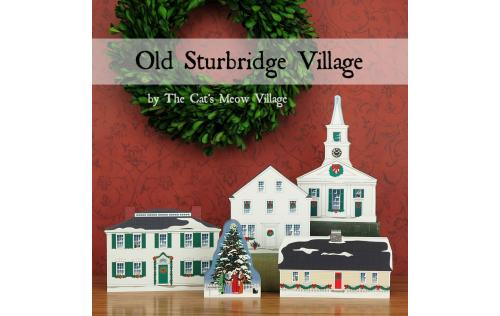 Old Sturbridge Village wooden Christmas keepsakes by The Cat's Meow Village.