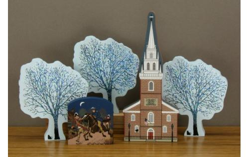 Old North Church with Winter Ice Trees and Paul Revere's Ride