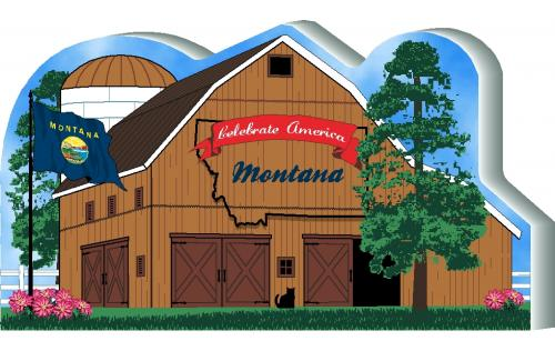 Cat's Meow Village handcrafted wooden barn keepsake representing the state of Montana