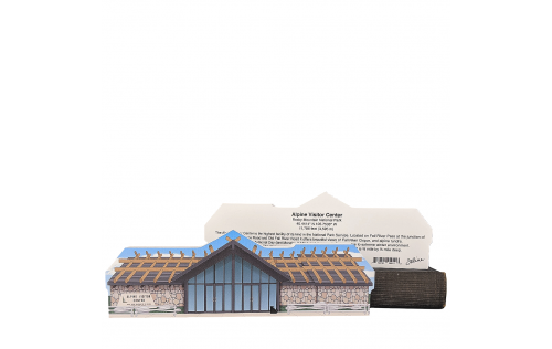 Wooden replica of the Alpine Visitor Center in Rocky Mountain National Park. Handcrafted by The Cat's Meow Village in the USA.