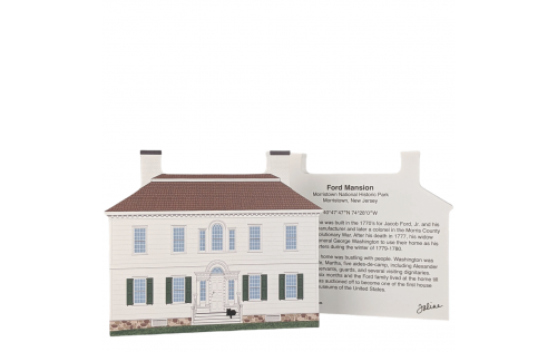 """Front &  Back of the Ford Mansion, Morristown, New Jersey. Handcrafted in the USA 3/4"""" thick wood by Cat's Meow Village"""