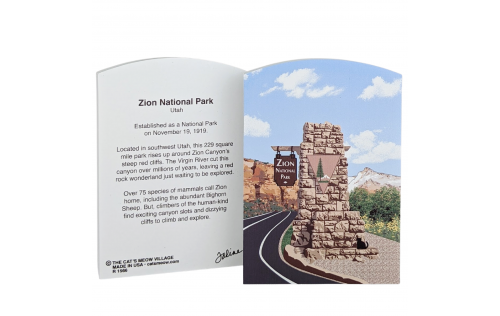 Front & Back of Zion National Park Sign, Utah.  Handcrafted in the USA by Cat's Meow Village.