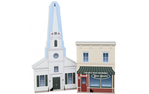 """Taylor's Soda Shoppe with the Stars Hollow Church from the popular Gilmore Girls TV series. Handcrafted in 3/4"""" thick wood by The Cat's Meow Village in the USA."""
