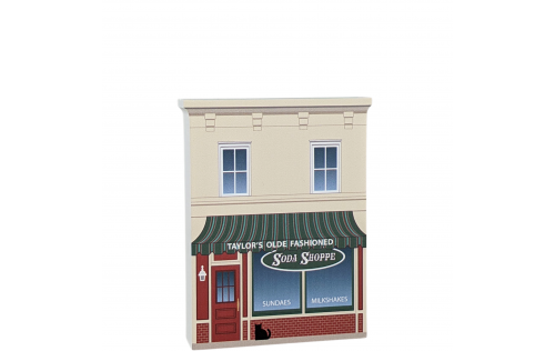 """Taylor's Soda Shoppe replica from Gilmore Girls Stars Hollow. Add this to your home decor. Made in 3/4"""" thick wood by The Cat's Meow Village in Wooster, Ohio."""
