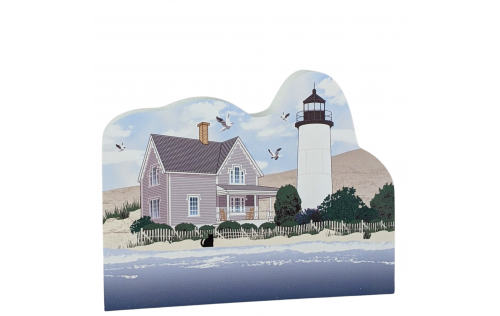 Wooden replica of Sandy Neck Lighthouse, Barnstable, Cape Cod. Handcrafted by The Cat's Meow Village in the USA